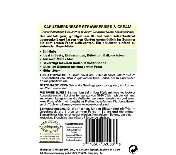 Thompson & Morgan Samen Kapuzinerkresse 'Strawberries & Cream'