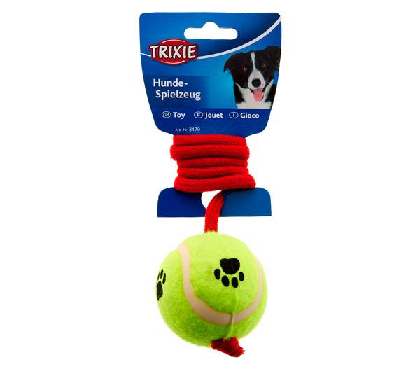 Trixie Hundespielzeug Tennisball am Seil, 50 cm