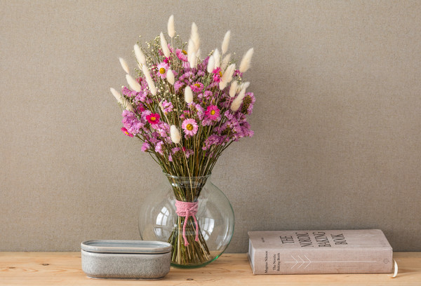 Trockenblumenbund Strandflieder, rosa