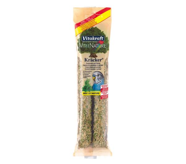 Vitakraft Kräcker Nature mit Spinat & Grassamen für Wellensittiche