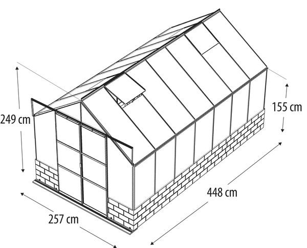 Vitavia Gewächshaus Cassiopeia 11500, ESG/HKP inkl. Sockel Sandstein