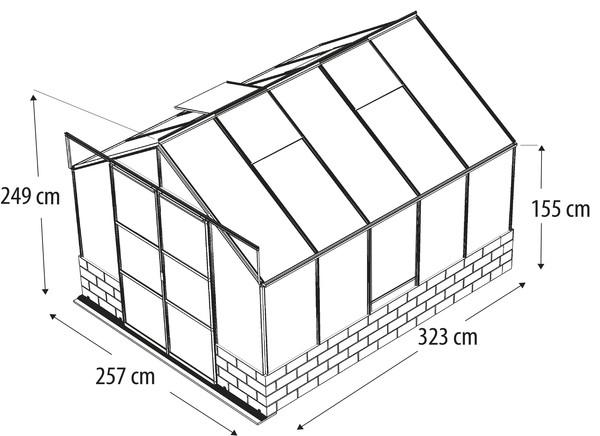 Vitavia Gewächshaus Cassiopeia 8300, ESG/HKP, inkl. Sockel Sandstein
