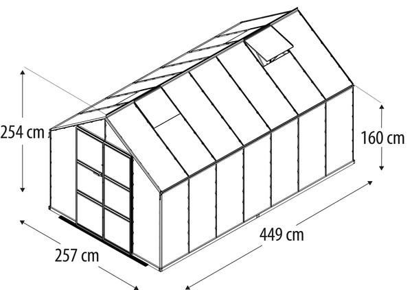 Vitavia Gewächshaus Orbit 11500, ESG/NSG, inkl. Fundament