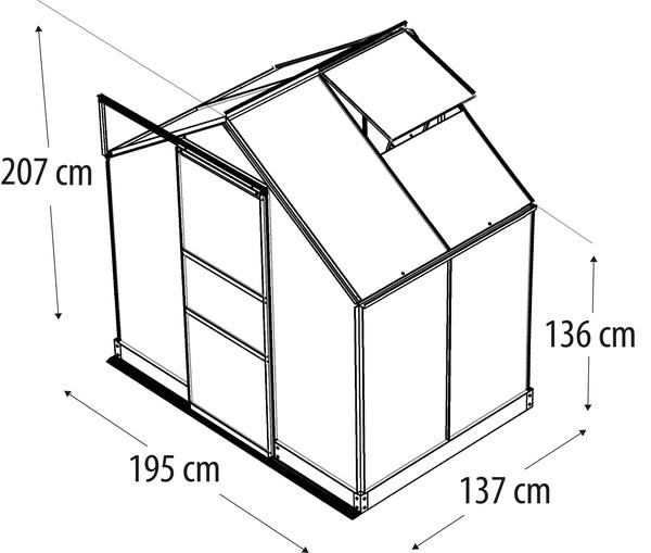 Vitavia Gewächshaus Pontos 2500, ESG/HKP, inkl. Fundament