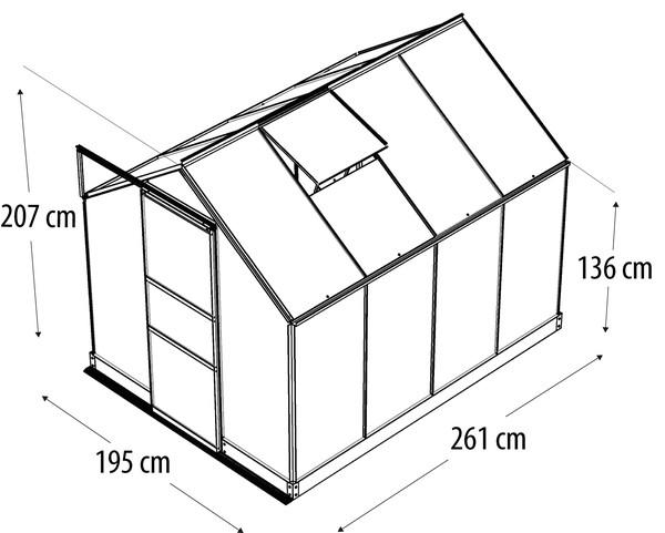 Vitavia Gewächshaus Pontos 5000, ESG/NSG, inkl. Fundament