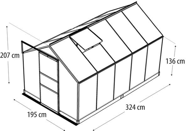 Vitavia Gewächshaus Pontos 5000, HKP, inkl. Fundament