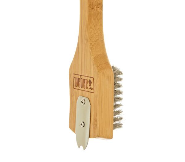 Weber Grillbürste und Schaber mit Bambus-Holzgriff