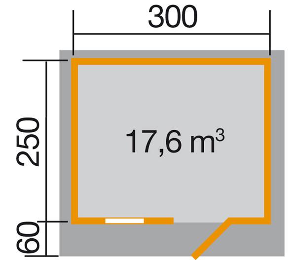 Weka Gartenhaus 131 Gr. 2, Sparset + Vordach 60 cm