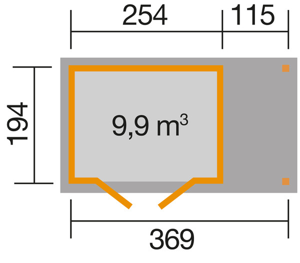 Weka Gartenhaus 321 + 115 cm Anbau