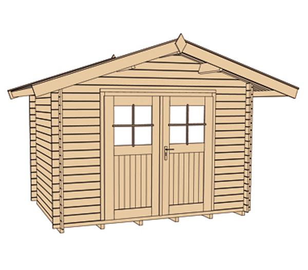 Weka Gartenhaus Premium 28 + Vordach 60 cm
