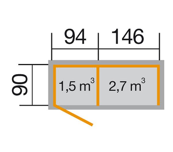Weka Multifunktionsschrank 663, 240 x 90 cm