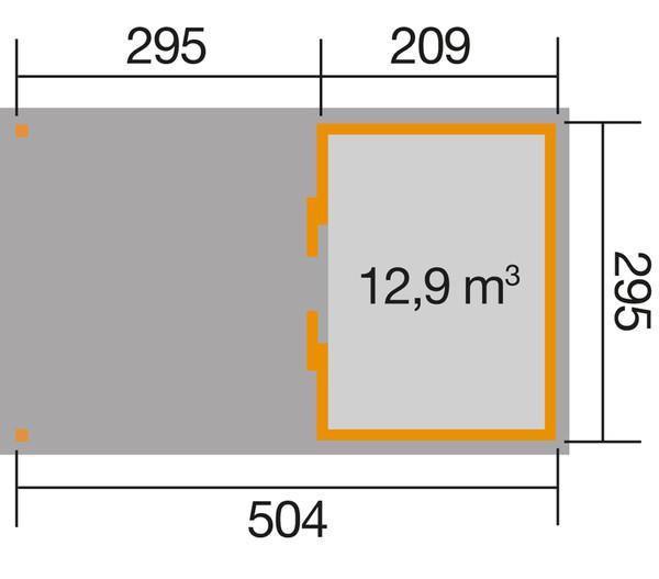 Weka Schiebetürhaus 225 + 295 cm XL-Anbau
