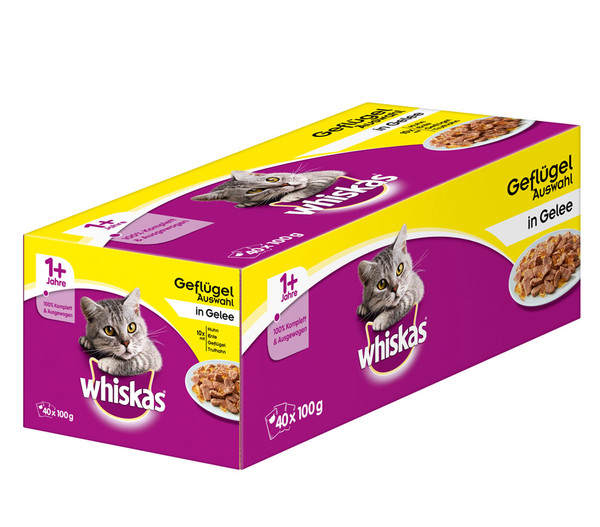 Whiskas® 1+ Geflügelauswahl in Gelee, Nassfutter