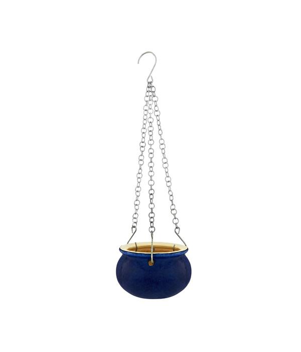 Keramik-Hängeampel, blau glasiert, rund | Dehner