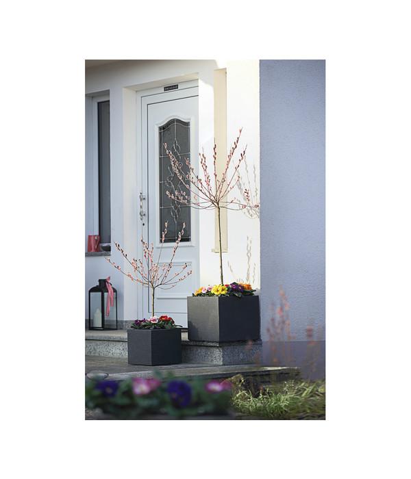 kunststoff blumenk bel kubus anthrazit eckig dehner. Black Bedroom Furniture Sets. Home Design Ideas