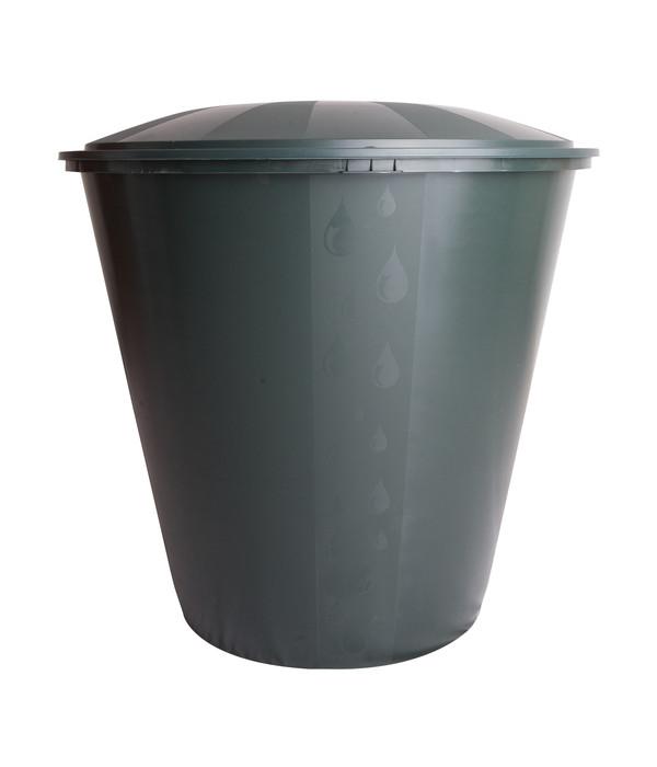 Kunststoff-Regentonne mit Deckel, rund, dunkelgrün | Dehner
