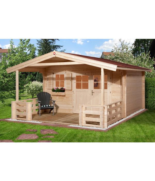 weka gartenhaus 111 mit vordach terrasse dehner. Black Bedroom Furniture Sets. Home Design Ideas