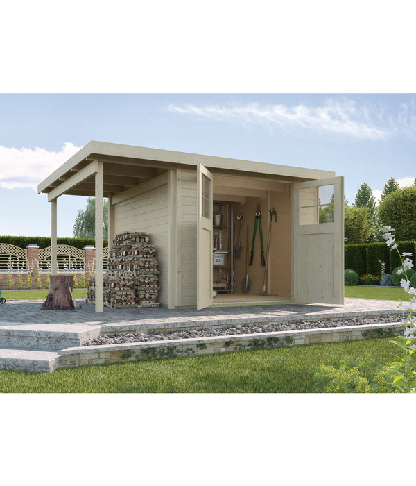weka gartenhaus 321 anbau 115 cm dehner. Black Bedroom Furniture Sets. Home Design Ideas